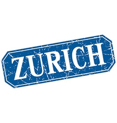 Zurich blue square grunge retro style sign vector