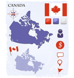 Canada map icons and buttons set vector image vector image
