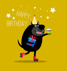 happy dog on rollers greeting card vector image