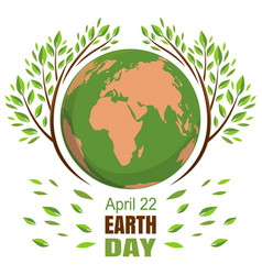 planets and green leaves april 22 happy earth vector image