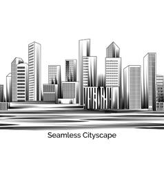 Seamless Cityscape Engraving vector image vector image