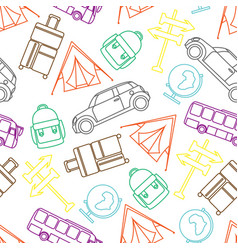 travel seamless pattern with graphic line vector image