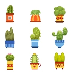 Cactus In Pot Set vector image vector image