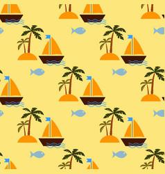 desert island and sailing ship vector image