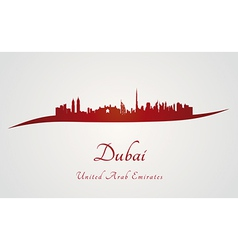 Dubai skyline in red vector image