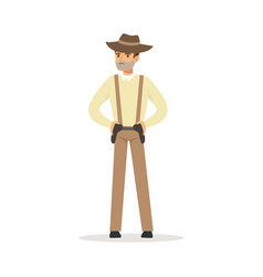 mafia man character in brown fedora hat holding vector image vector image