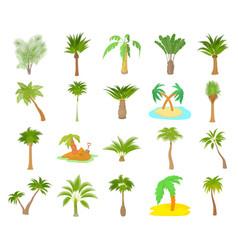 palm tree icon set cartoon style vector image
