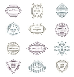 Set of grunge hipster signs and emblems vector image vector image
