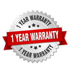 1 year warranty 3d silver badge with red ribbon vector image