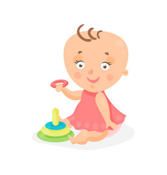 adorable cartoon baby girl in pink dress playing vector image vector image
