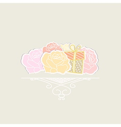 Bouquet of roses with a gift vector image vector image
