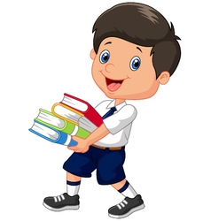 Cartoon boy holding a pile of books vector image vector image