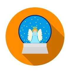 Christmas snow globe with an angel icon in flat vector