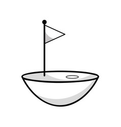 Figure golf flag play game field vector