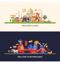 Flat design Holland India travel banners set vector image vector image