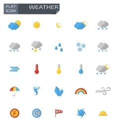 flat weather icons set vector image