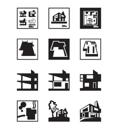 Stages of construction of building vector image vector image