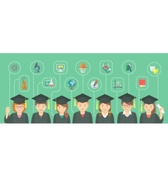 Flat style kids graduation concept with school vector image