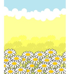 Floral landscape white flowers and blue sky Clouds vector image
