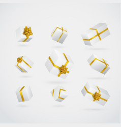 gift 3d background festive box and bow set vector image vector image