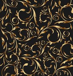 Golden seamless floral background pattern vector image vector image