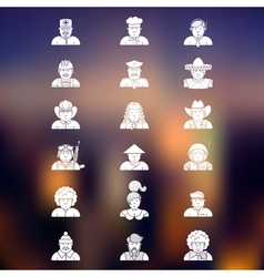 large set of contour avatars of different vector image vector image