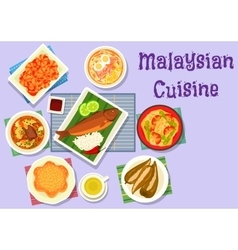 Malaysian cuisine fish and meat dishes icon vector image