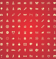 100 birthday icons vector image