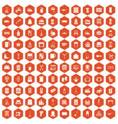100 housework icons hexagon orange vector