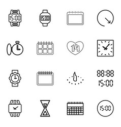 16 time icons vector image