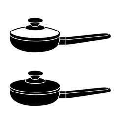 3d kitchen pan black symbol vector
