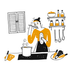 a young woman cooks in her kitchen vector image