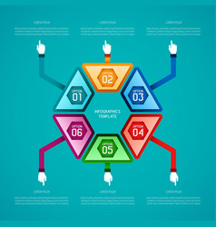 Abstract 5 steps infographic template in flat vector