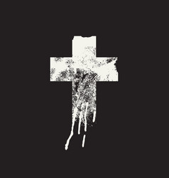Abstract christian cross on black background vector