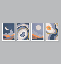 abstract landscape composition art with sun and vector image