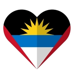 Antigua and Barbuda flat heart flag vector