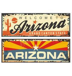 Arizona state retro souvenir sign plate vector