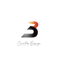 B letter design with fire flames and orange color vector