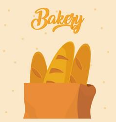 baguettes in paper bag vector image