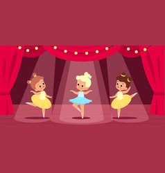Ballet scene little ballerinas perform on stage vector