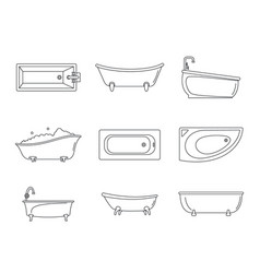bathtub interior icons set outline style vector image