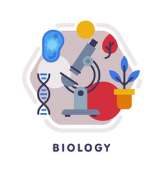 biology school subject icon education and science vector image