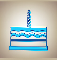 Birthday cake sign sky blue icon with vector
