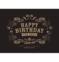 birthday card design vintage style template vector image