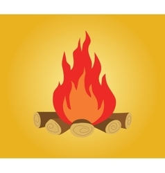 bonfire isolated with wood and flame fire yellow vector image