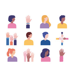 Bundle diversity people set icons vector