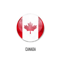 canadian flag in a circle on white background vector image