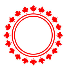 canadian flag symbolism red maple round frame logo vector image