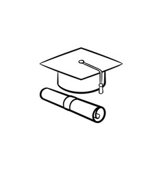cap of graduate and certificate hand drawn icon vector image