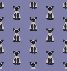 Cat seamless pattern vector